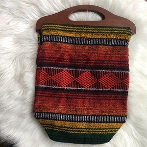 Handbags - Hand woven purse with wood handles